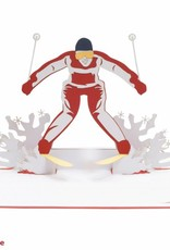 3D Pop up card, Skiing, Wintersports, Sports, Congratulations, Card for Tournaments, No. 270