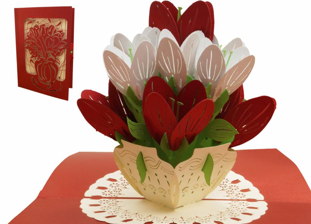 Pop Up Card, Birthday, Mothers Day, Congratulations, Nature, Rose Basket, No. 720