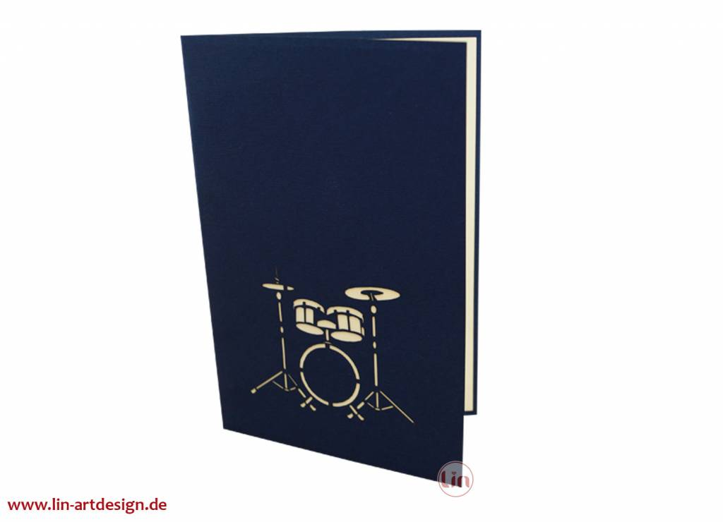 Pop up card - music,birthday,congratulations,Drumset, N282