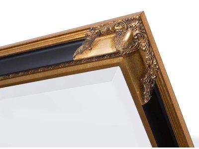 Naples - Luxe Spiegel met Hoekornamenten - Kleur Zwart met Goud