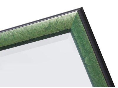 Atessa spiegel met moderne zilver met groene lijst