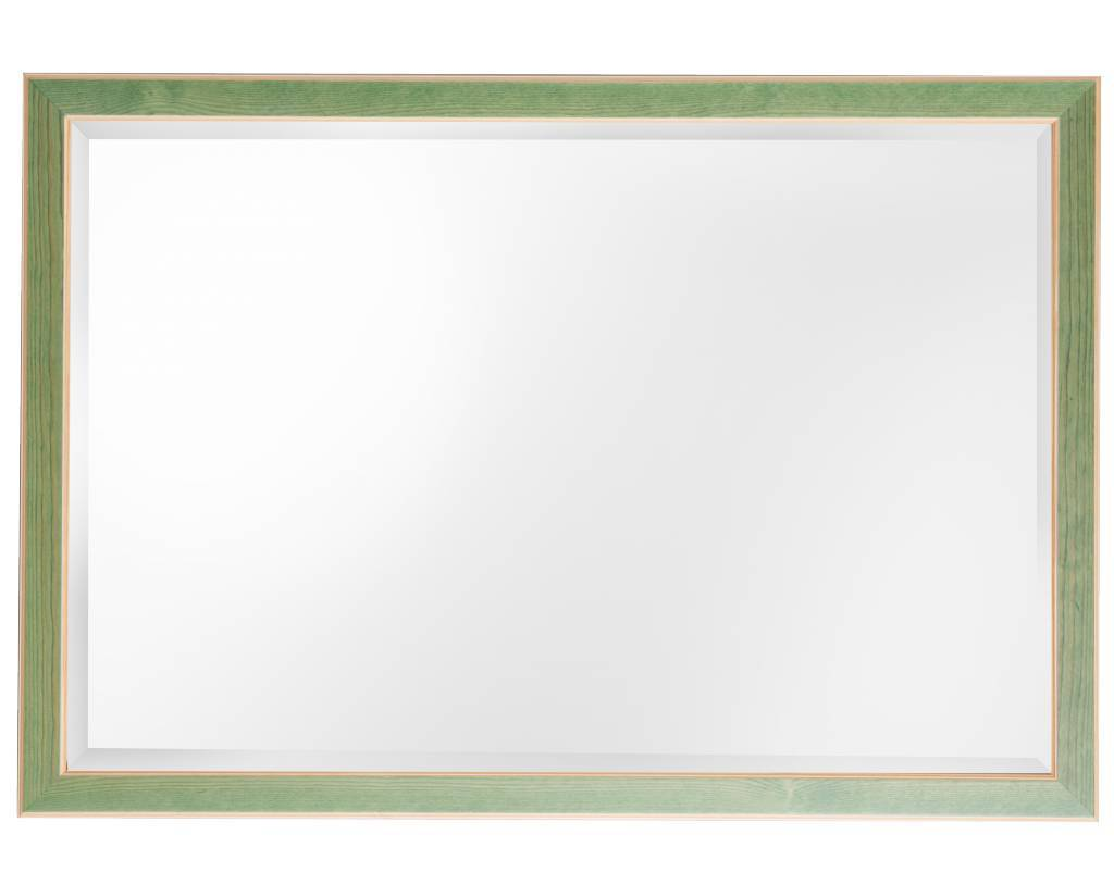 Bremen spiegel met groene lijst van hout   Kunstspiegel nl
