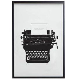 Love Typer - poster met zwarte lijst en glas