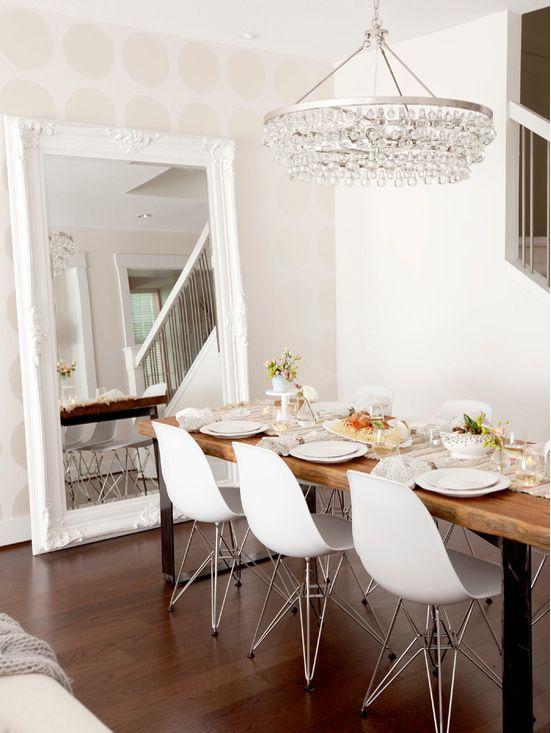 Nice spiegel met barok witte lijst
