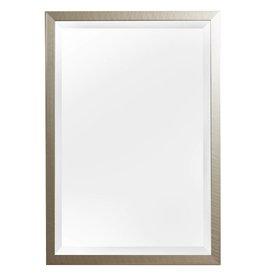 Mariotto - spiegel met geborstelde zilveren lijst met zwarte zijkant