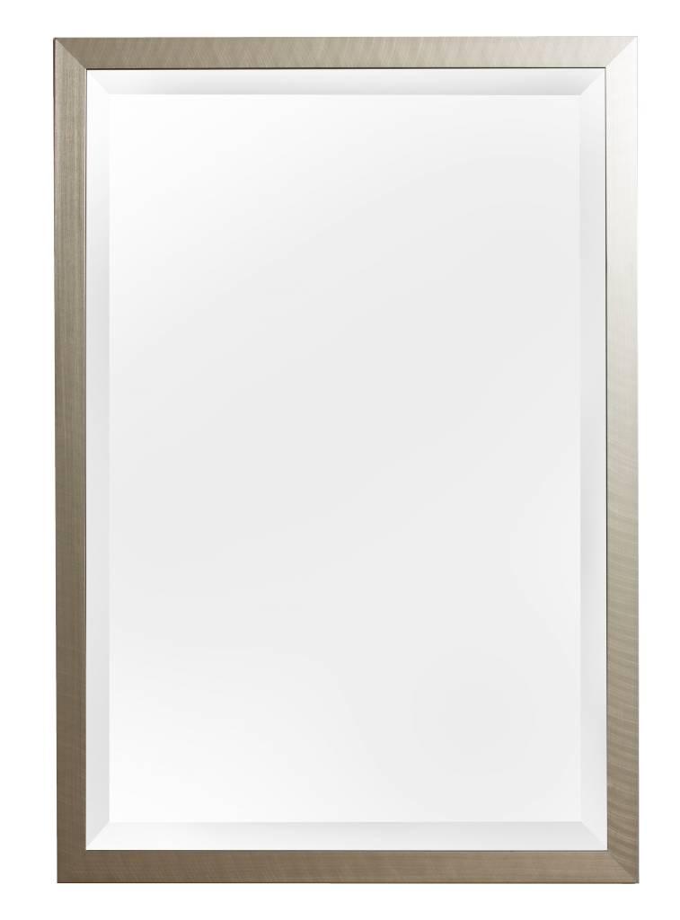 Mariotto spiegel geborsteld zilver zwarte rand