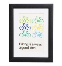 Biking is always a good idea - poster met passe partout en houten zwarte lijst