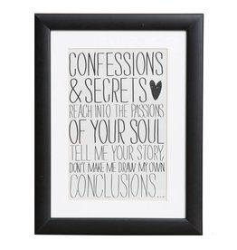 Confessions & Secrets - poster met passe partout en houten zwarte lijst