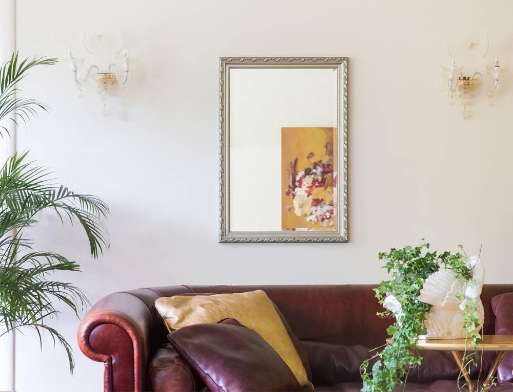Bonalino - Barok Spiegel met Bladpatroon - Zilver Gekleurd Frame