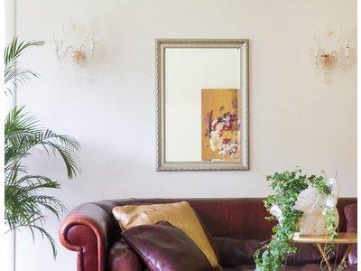 Pizzo - Bescheiden Italiaanse Barok Spiegel - Licht Zilver Gekleurd