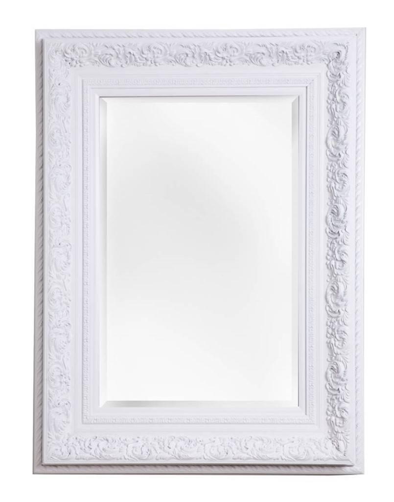 Genova   spiegel met witte barok lijst   Kunstspiegel nl