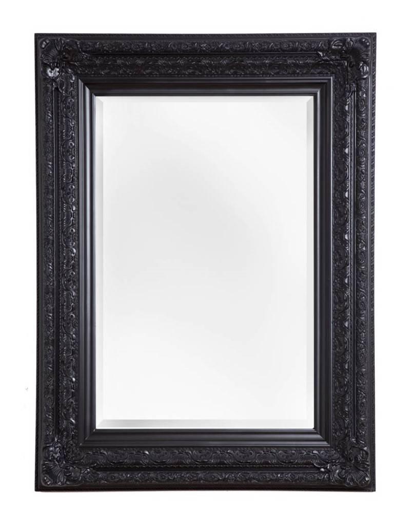 Fr jus spiegel met zwarte barok lijst kunstspiegel for Spiegel zwarte lijst