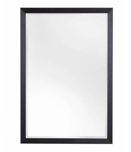 Firenze moderne zwarte spiegel met zilveren binnenrand for Spiegel zwarte lijst