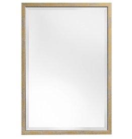 Rimini - spiegel met smalle geel-gouden lijst met zilver