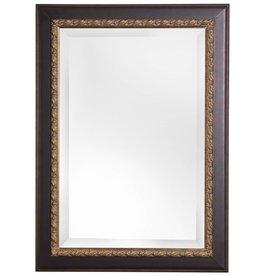 Forli - Spiegel met Bladmotief en donkere buitenrand - Kleur Donkerbruin En Donker Goud