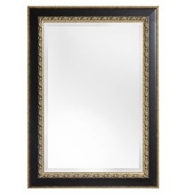 Forli - Spiegel met Bladmotief en lichte buitenrand - Kleur Donkerbruin En Goud