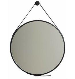 Rome - Moderne Ronde Spiegel met Leren Draaghengsel - Kleur Zwart