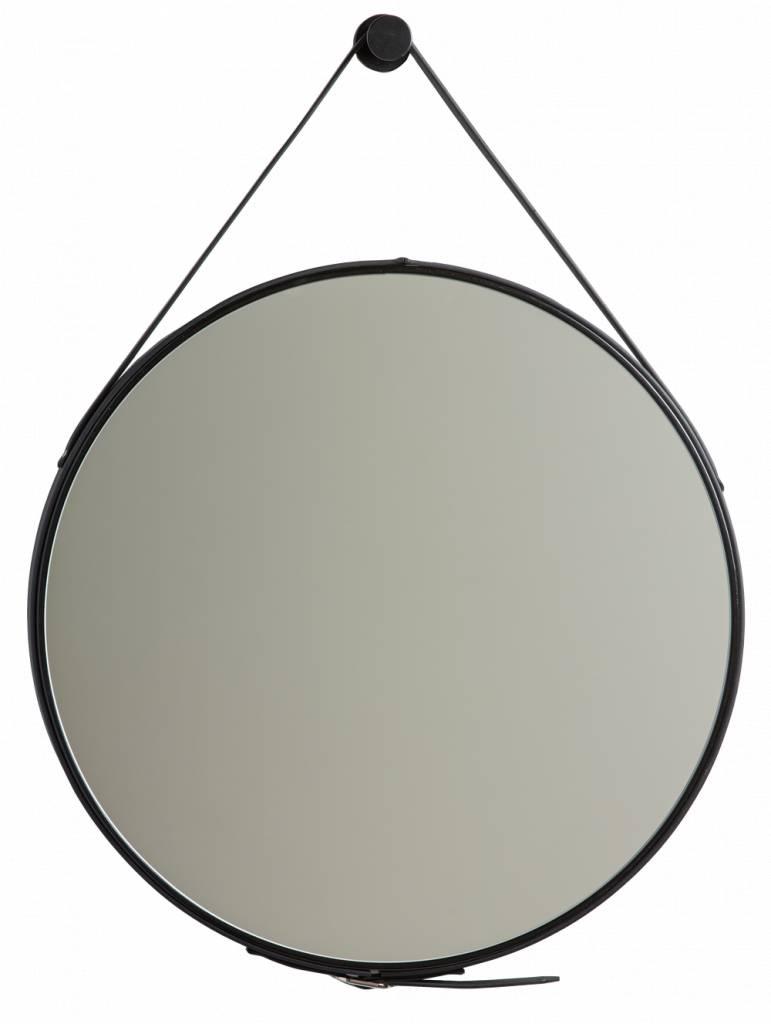 rome moderne ronde spiegel met leren draaghengsel zwart gekleurd kunstspiegel. Black Bedroom Furniture Sets. Home Design Ideas