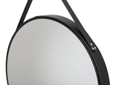 Rome - ronde spiegel - zwart leer