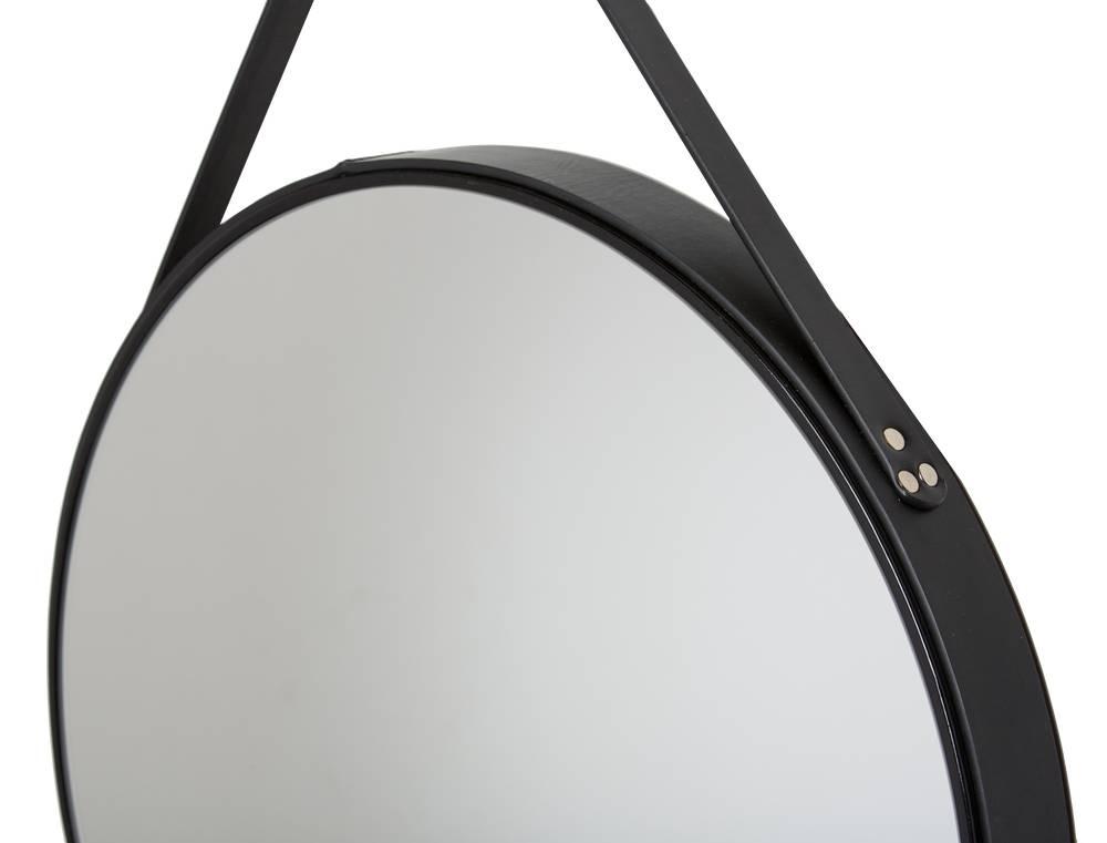 Rome ronde spiegel zwart leer kunstspiegel