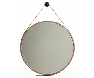 Spiegel Zwart Rond : Rome ronde spiegel bruin leer kunstspiegel