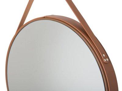 Rome - Moderne Ronde Spiegel met Leren Draaghengsel - Kleur Bruin