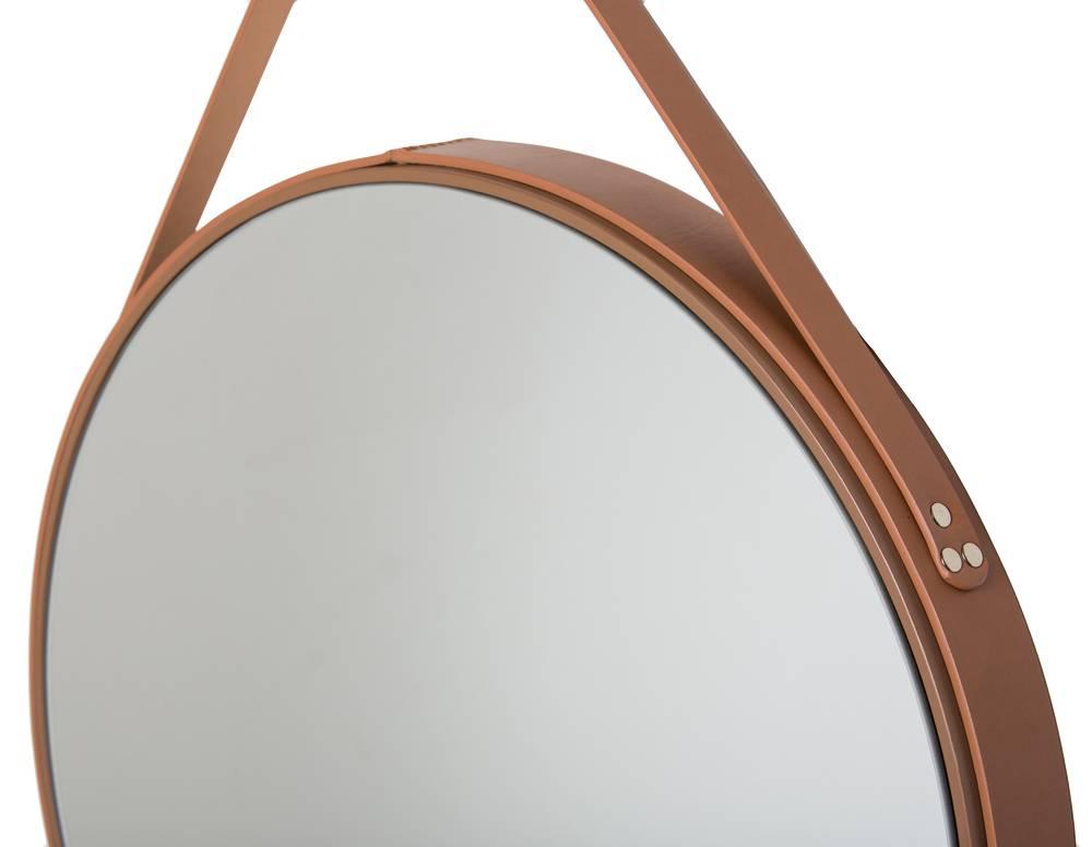 Genoeg Rome - ronde spiegel - bruin leer - KunstSpiegel &UD11