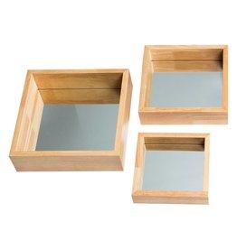 Madrid - Vierkante Mini-Spiegel Set  - Hout Kleur