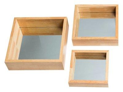 Madrid -  vierkante mini spiegelset  - hout