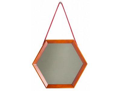 Lazio - hexagon spiegel - teak hout