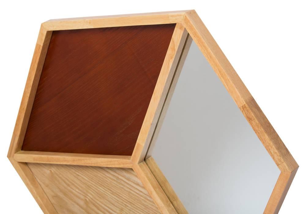 Abruzzo - Decoratieve Spiegel in 3D Kubus vorm - Houtkleur
