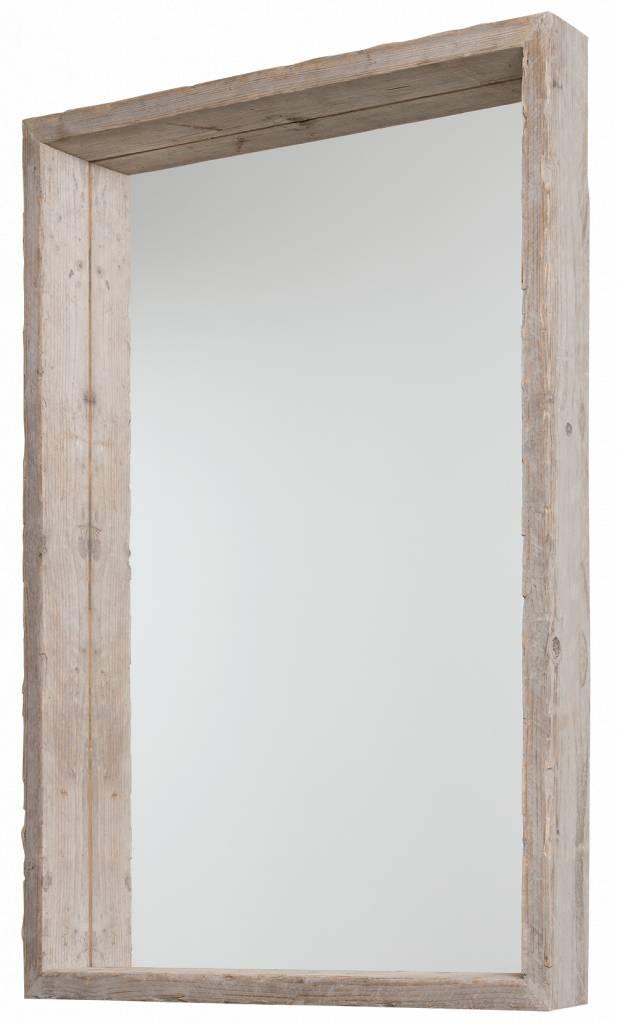 wood spiegel met diepe steigerhouten lijst ongeschuurd