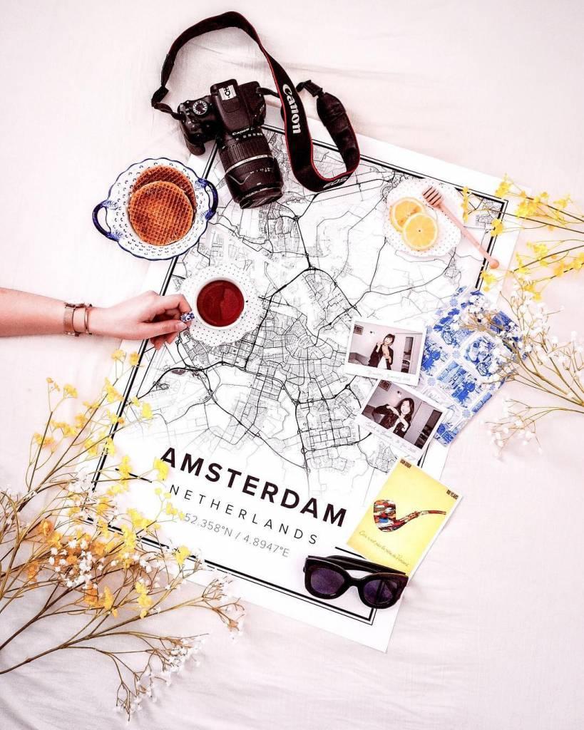 Ingelijste Stadskaart Amsterdam Premium