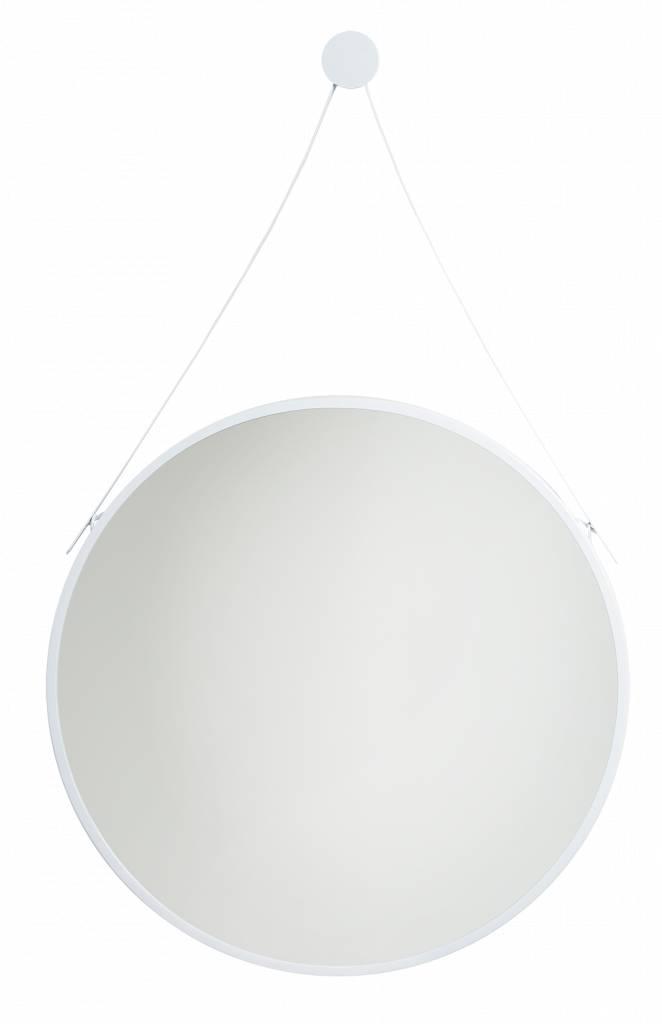 Spiegel San Francisco - Ronde Hangspiegel - Wit Gekleurd met Draaghengsel