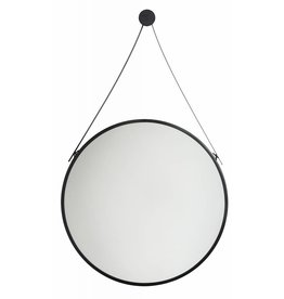 Spiegel San Francisco - Ronde Hangspiegel - Zwart Gekleurd met Draaghengsel