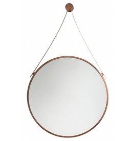 rome moderne ronde spiegel met leren draaghengsel