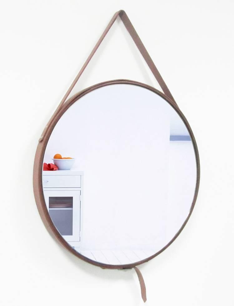 rome ronde spiegel bruin leer kunstspiegel