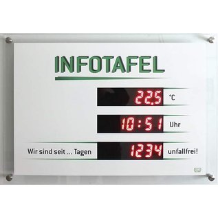 """GA-1200 - Infoboard """"days without accident"""", temperature, time"""