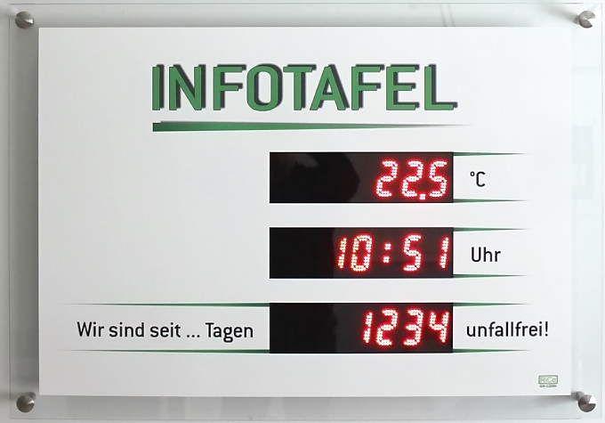 GA-1200 - Infotafel Unfallfrei Tage, Temperatur, Uhrzeit - RiCo ...