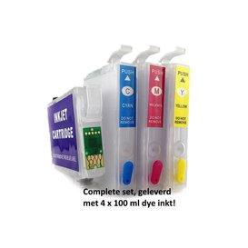 Hervulbare patronen voor T1811-T1814 Serie Actiepakket met 400 ml. inkt