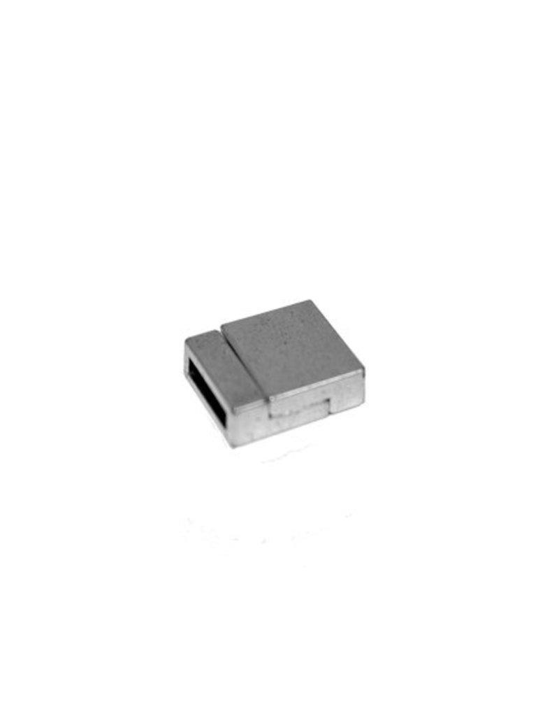 jolie Sluiting 2-delig magneet 13mm zilverkleur per 5 stuks