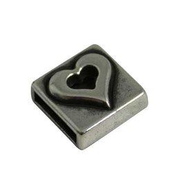 CDQ Ls leerschuiver vierkant hartje 10mm zilverkleur
