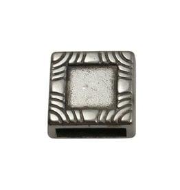 CDQ Ls leerschuiver Vierkant 10mm met inleg zilverkleur