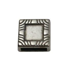 jolie Ls leerschuiver Vierkant 10mm met inleg zilverkleur