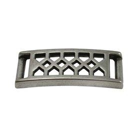 CDQ Armband schuiver Ruit 37x10mm zilverkleur