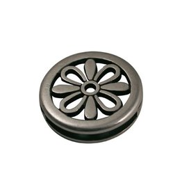 jolie slider bead flower round 24X3mm silver plating