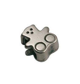 CDQ Ls leerschuiver beertje 6mm zilver