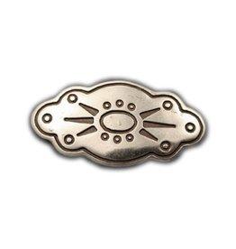 CDQ inslag oval flower 45mm zilverkleur