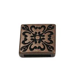 jolie Ls leerschuiver 13mm Bloem 4kant brons kleur.