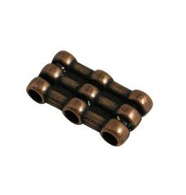 CDQ Ls leerschuiver 3xgats/3xschuif brons kleur.